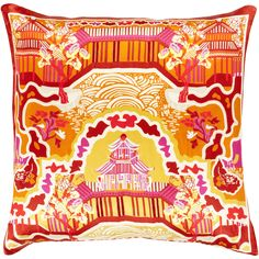Decorative Campbell 20-inch Down or Poly Filled Throw Pillow (Orange - Down), Size: 20 x 20 (polyester, spot)