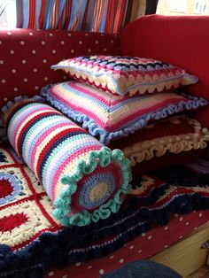 Stripey Bolster and Granny cushions
