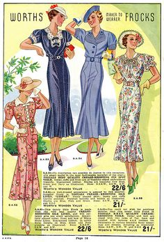 Historical 1930's fashion. So lovely! Worth's Spring & Summer 1937.