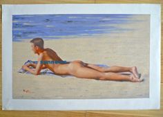 ORIGINAL OIL PAINTING GAY ART - MALE NUDE LYING ON THE SAND  BY HONGTAO