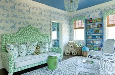 Precious nursery. Love the Lulu DK for Schumacher wallpaper. Comes in a few color ways and in fabric!!