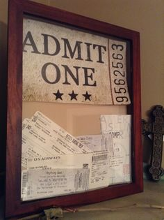 ticket stubs memory shadow box :) Great idea for all the concerts I have been to and still have stubs for!