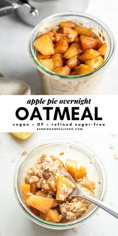 Recipes Breakfast Overnight Oats These apple pie overnight oats taste like apple pie in a jar. Enjoy these year round but especially in the Fall when apples are in season and abundant. This recipe is vegan, gluten-free and refined sugar-free. Oats Recipes, Whole Food Recipes, Cooking Recipes, Apple Oat Recipes, Instant Oatmeal Recipes, Cooking Tips, Freezer Recipes, Flour Recipes, Freezer Cooking