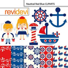 Nautical clipart and digital papers - Nautical Red Blue digital clip art (sailor, sail away, boat, anchor)