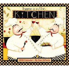 Home Is in the Kitchen 2016 Wall Calendar   $15.99   These busy chefs star in Home is in the Kitchen Wall Calendar amid a swirl of stewing, slicing, dicing, and all manner of kitchen utensils and ingredients. Dan DiPaolo hopes his art helps bring people together. The best way he knows to do that is through laughter, which is why he puts a little whimsy in everything he creates. Dan's art inspires not only smiles, but the desire to share the good feelings that come from them as well.