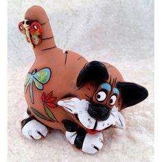 Spardose Katze liegend mit Schmetterling 70107-82 auf dem Schwanz aus Keramik in Sammeln & Seltenes, Weitere Sammelgebiete, Spardosen | eBay