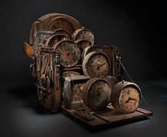 Rthe amazing work of Ron Pippin, check out his website. Altered Boxes, Altered Art, Collages, Steampunk Furniture, Bokashi, Found Object Art, Find Objects, Cycling Art, Assemblage Art