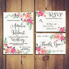 Para imprimir invitación de boda suave romántica bloom