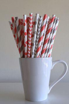 Paper Straws - 25 Coral and Gray Grey Striped, Chevron, Polka Dot Party Straws Birthday Wedding Baby Shower Mason Jar Straws Mix