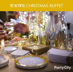 Dreaming of a classy Christmas dinner? Party City is here to help! Start with a beautiful tablecloth in the color of your choice. Next, lay out our collection of premium serveware, like the plastic Gold Braided Edge and Gold Trimmed Cream platters. Finally, add some touches of detail, such as large serving bowls and LED lights to illuminate your table. Have yourself a Merry Christmas dinner with Party City!