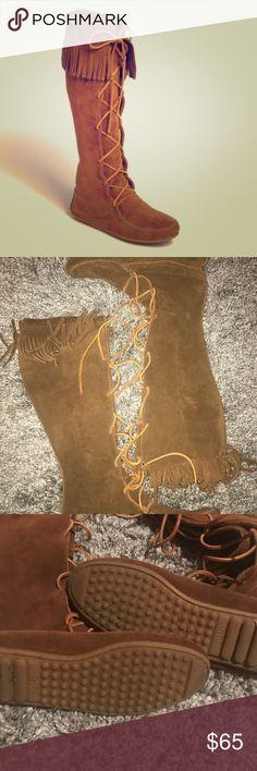 Selling this 💕 Minnetonka knee high lace up moccasin boot 8 on Poshmark! My username is: krisstevenson. #shopmycloset #poshmark #fashion #shopping #style #forsale #Minnetonka #Shoes