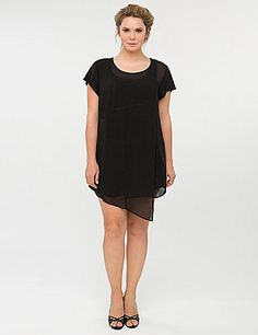 Cubist tunic by Isabel Toledo makes a bold impact with an asymmetric hem and flirty, flyaway paneling with seam details. In a versatile length that doubles as a dress or tunic, it features double-layered cap sleeves and a scoop neckline. Pull-on style. Available in matte black or soft peach with a hint of gold sheen.  lanebryant.com