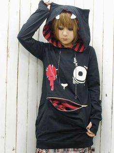 Mojyu (Savage Beast) Pull Over Black x Red. #punkfashion #Gothic #Deorart See more at: http://www.cdjapan.co.jp/apparel/deorart.html