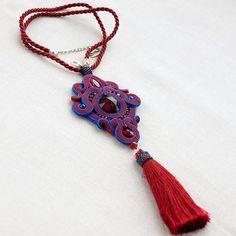 Long tassel soutache necklace colourful gypsy necklace
