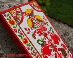 "Northern Russia folk art ""Puchuz"" painting style.  Painted notebook cover"