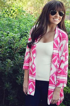 Feeling Pink Cardigan: Hot Pink/White | Hope's on Wanelo