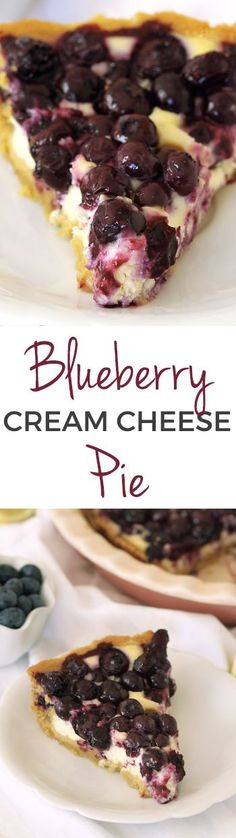 Blueberry Cream Cheese Pie – creamier, smoother and gooier than a regular cheesecake with a sugar cookie crust! Tart Recipes, Cheesecake Recipes, Sweet Recipes, Baking Recipes, Homemade Cheesecake, Cookie Recipes, Easy Desserts, Delicious Desserts, Summer Desserts