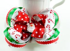 Red White Christimas Hair Bow Large Holiday Baby by SheWearsitWell, $14.50