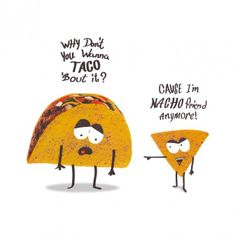 Food jokes are the best type of jokes. Food jokes are the best type of jokes. Funny Food Puns, Punny Puns, Cute Jokes, Cute Puns, Corny Jokes, Funny Cute, Funny Memes, Cheesy Jokes, Taco Humor
