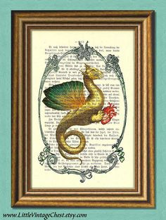 LORD DRAGON  Halloween  Dictionary art  Wall by littlevintagechest, $7.99