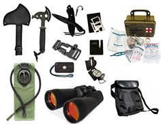 Survival Camping Hiking 20X70 Binoculars RubyEmergency First Aid Kit Sharpener Axe Fire Starter Blade Whistle Flint Striker Belt Buckle Hydration Bladder Multi Tool Compass Signal Mirror *** Want additional info? Click on the image.-It is an affiliate link to Amazon. #CampingSafetyandSurvivalEquipments