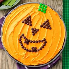 Great Pumpkin Brownie Recipe- Recipes  Our kids beg for these big brownies every year. I just bake brownie batter in a pizza pan, spread with orange-tinted frosting and let the kids design a pumpkin stem and jack-o'-lantern face using candy. —Darla Wester, Meriden, Iowa