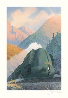 """La Type 12 - En montagne  [La Type 12 - En montagne by François Schuiten] Year2015Typepigment inkSize100x70cmCommentsPrinted on """"Hahnemühle Fine Art 308gr"""" paper, in an edition of 30 copies. All numbered and signed by François Schuiten. The print is published by Atlantic 12. The price is 400 euros. gallery single"""