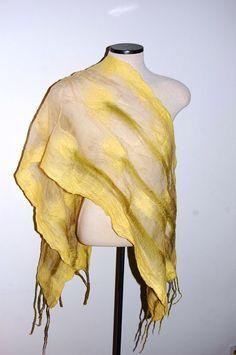 Yellow Tulip Scarf Floral Scarf Handmade Scarf Women Scarf Nuno Felt Scarf Felt Shawl Flower Scarf Wool Wrap Nuno Felt Clothing Spring Scarf