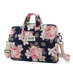 9b796ce31bbd5 Canvaslife White Rose Patten Canvas Laptop Shoulder Messenger Bag Case  Sleeve for 14 Inch 15 Inch Laptop Macbook Pro 15 Case Laptop Briefcase  Inch  ...