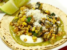 Charred Corn and Zucchini Tacos -- just need to figure out how to make sweet green sauce ... or whatever it is ... :)