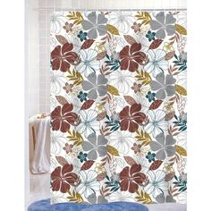 Mia PEVA Vinyl 70x72 Shower Curtain With Matching Metal Hooks, Floral Print