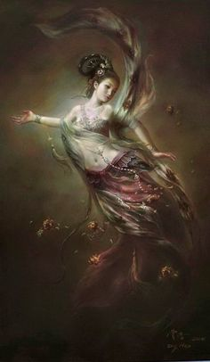 Art Oil Painting Dunhuang Flying Fairy with Flowers Dropped from the Clouds… Oriental, Dunhuang, Goddess Art, Moon Goddess, Modern Oil Painting, Buddha Art, Guanyin, Oil Painting Reproductions, Gods And Goddesses