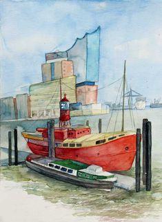 Wahrzeichen des Hamburger Hafens (c) Aquarell mit Feuerschiff und Barkasse von Frank Koebsch