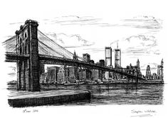Memory drawing of Manhattan Skyline - drawings and paintings by Stephen Wiltshire MBE