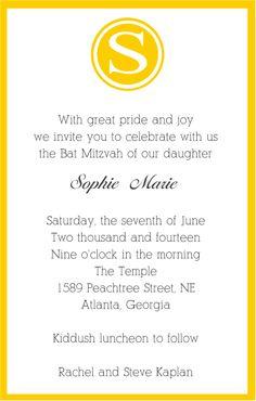 Contemporary Yellow Monogram Bat Mitzvah Invitation