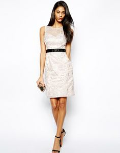 Lipsy VIP Shift Dress in Organza Lace