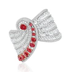 This Boghossian Reverence diamond bracelet (4) creates a tiered formation of diamonds and graduated rubies that encircle the wrist, and which rise towards the centre, culminating in an impressive 3.06ct Burmese ruby.