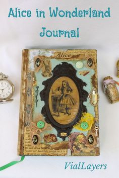 Handmade Alice in Wonderland journal features Alice, the White Rabbit and the Cheshire Cat. Visit VialLayers on Etsy for unique handmade decor. From decoupaged miniature coffin boxes, vintage-inspired potion bottles and collage art journals. Find the perfect one of a kind gifts. Notebook Covers, Journal Covers, Vintage Style, Vintage Inspired, Cheshire Cat, Handmade Decorations, Art Journals, Mixed Media Art, Coffin