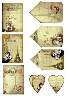 #papercraft #printable #download ATCs and heart tags. Free for personal use