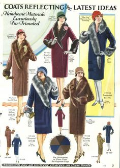Vintage Fashion coats womens fur collar - The history of women's fashion coats is a display of beauty and wealth. coats were simple wraps with thick fur trim or all fur style raccoon coats. Arte Fashion, Fur Fashion, Fashion Design, Fashion Fashion, 1920s Fashion Women, Vintage Fashion, Womens Fashion, Victorian Fashion, Moda Art Deco