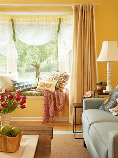 Cute little nook area with cute window treatments!