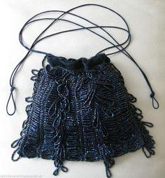 Vintage Art Deco Crochet Knit Carnival Glass Bead Peacock Blue Drawstring Purse #EveningBag