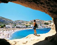 Crete, Greece, Europe: The view from a cave in Matala, Crete