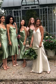 Green Bridesmaid Dresses, Prom Dresses, Wedding Dresses, Bridesmaids, Wedding Goals, Dream Wedding, Wedding Ideas, Silk Slip, Satin Dresses
