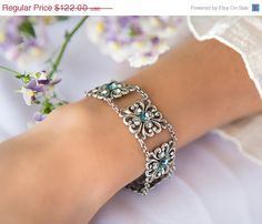 Check out Silver filigree bracelet with Swarovski sapphire crystals, Mother of the bride jewelry, statement bracelet, silver square bracelet - Anne on alinye Mother Of The Groom Bracelets, Mother Of The Bride Jewelry, Mothers Bracelet, Mother Jewelry, Art Deco Necklace, Necklace Sizes, Silver Rhinestone, Silver Filigree, Filigree Jewelry