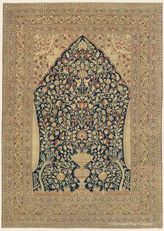 "HADJI JALLILI TABRIZ GARDEN OF PARADISE, 6' 11"" x 9' 9"" — Late 19th Century, Northwest Persian Antique Rug - Claremont Rug Company"
