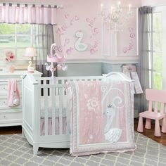 Pink and Grey swan crib set and matching decor for a darling baby room