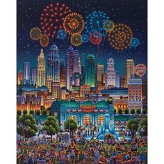 Eric has captured the spirit and festivities of a classic 4th of July celebration in his painting of Kansas City. This night scene is set aglow with fireworks and city lights, a city known for its contributions to the musical styles of jazz and blues as well as to cuisine, notably Kansas City-style barbecue. With over 200 fountains, Kansas City's official nickname is the City of Fountains. In the foreground of this painting you can see the iconic Henry Wollman Bloch Memorial Fountain set in…