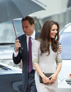 At the premiere of 'African Cats,' when William held the umbrella for Kate. via @stylelist