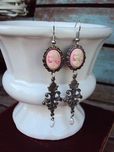 Vintage Style Cameo Earrings Silver and by primitivepincushion